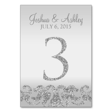 cardeddesigns Silver Glitter Look Wedding Table Numbers-3 Card