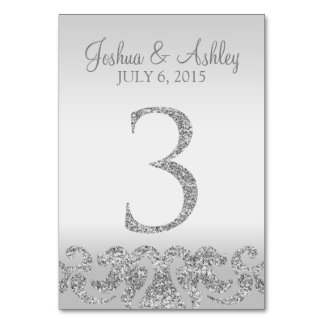 Silver Glitter Look Wedding Table Numbers-3 Table Number