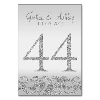 Silver Glitter Look Wedding Table Numbers-44 Card