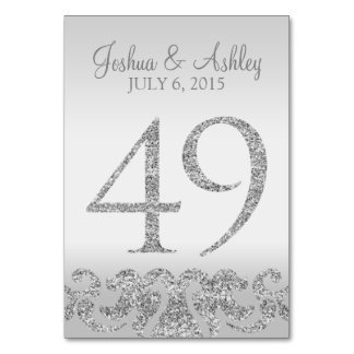 Silver Glitter Look Wedding Table Numbers-49 Card