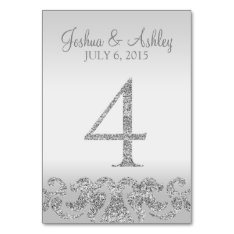 Silver Glitter Look Wedding Table Numbers-4 Card at Zazzle