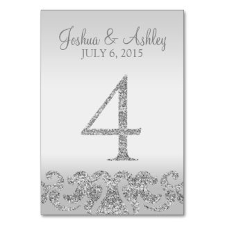 Silver Glitter Look Wedding Table Numbers-4 Table Number