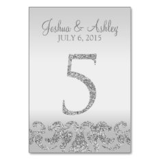 Silver Glitter Look Wedding Table Numbers-5 Card at Zazzle