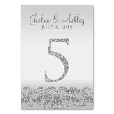 cardeddesigns Silver Glitter Look Wedding Table Numbers-5 Card