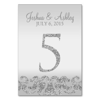Silver Glitter Look Wedding Table Numbers-5 Table Number