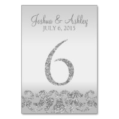 Silver Glitter Look Wedding Table Numbers-6 Card at Zazzle