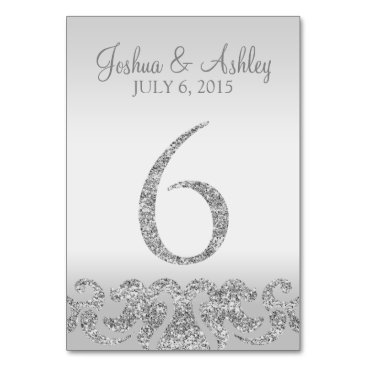 cardeddesigns Silver Glitter Look Wedding Table Numbers-6 Card
