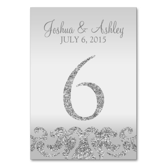 Silver glitter look wedding table numbers 6 card zazzle for Table 6 gift card