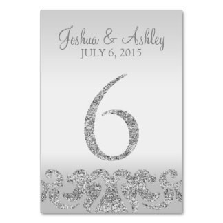 Silver Glitter Look Wedding Table Numbers-6 Table Number