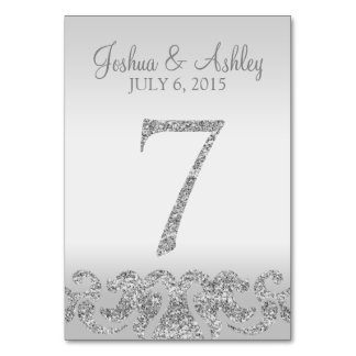 Silver Glitter Look Wedding Table Numbers-7 Card