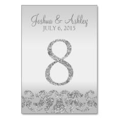 Silver Glitter Look Wedding Table Numbers-8 Card at Zazzle