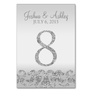 Silver Glitter Look Wedding Table Numbers-8 Table Number
