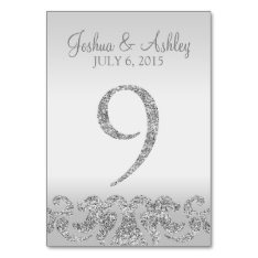 Silver Glitter Look Wedding Table Numbers-9 Card at Zazzle