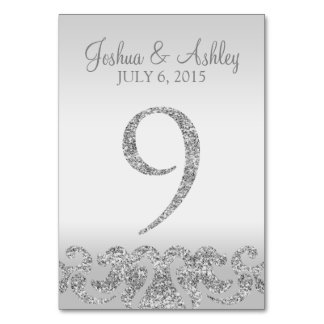 Silver Glitter Look Wedding Table Numbers-9 Card