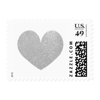 Silver glitter love heart symbol wedding stamps