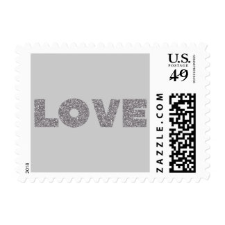 Silver Glitter Love Postage Stamps