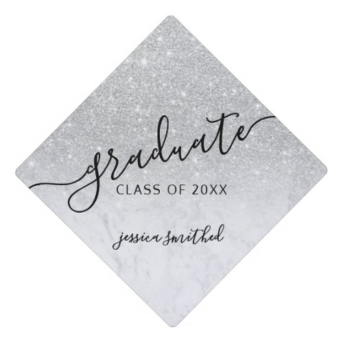 Silver glitter marble chic typography graduate graduation cap topper