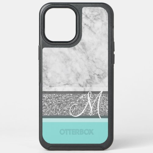 Silver Glitter & Marble Monogram Can CHANGE color Phone Case