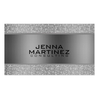 Silver Glitter & Metallic Silver Mash Consulting Business Card