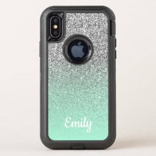 8548dd01b816 Silver Glitter Mint Green Ombre Personalized OtterBox Defender iPhone XS  Case
