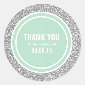 Silver Glitter & Mint Green Thank You Round Classic Round Sticker