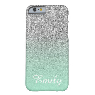 Silver Glitter Mint Ombre Personalized Barely There iPhone 6 Case