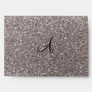 Silver glitter monogram envelope