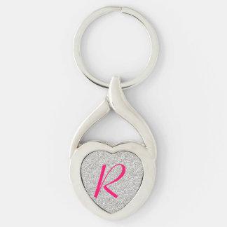 Silver Glitter Monogram Heart Key Chain