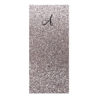 Silver glitter monogram rack card