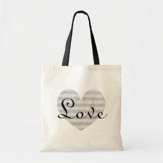 Silver glitter monogram stripe love heart tote bag