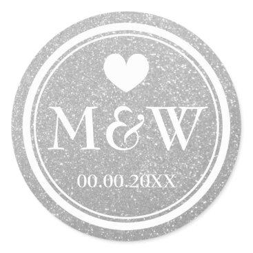 backgroundpatterns Silver glitter monogram wedding favor stickers