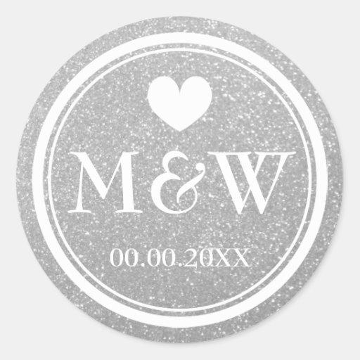 Silver glitter monogram wedding favor stickers thumbnail