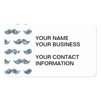 Silver Glitter Mustache Pattern Printed Business Card