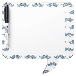 Silver Glitter Mustache Pattern Printed Dry Erase Whiteboard