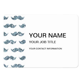 Silver Glitter Mustache Pattern Printed Large Business Card