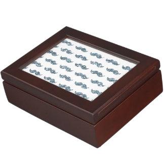 Silver Glitter Mustache Pattern Printed Keepsake Box