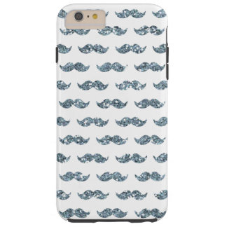 Silver Glitter Mustache Pattern Printed Tough iPhone 6 Plus Case