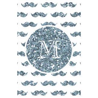 Silver Glitter Mustache Pattern Your Monogram Calendar