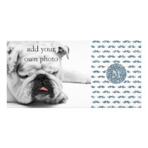 Silver Glitter Mustache Pattern Your Monogram Card