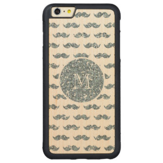 Silver Glitter Mustache Pattern Your Monogram Carved Maple iPhone 6 Plus Bumper Case