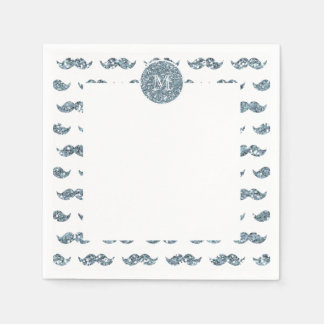 Silver Glitter Mustache Pattern Your Monogram Napkin
