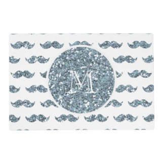 Silver Glitter Mustache Pattern Your Monogram Placemat