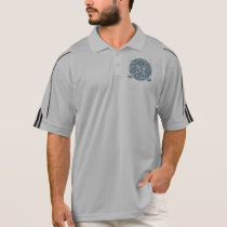 Silver Glitter Mustache Pattern Your Monogram Polo Shirt