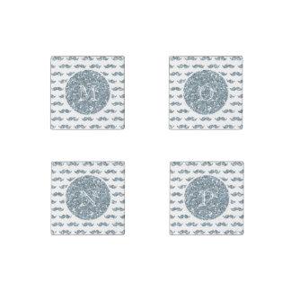 Silver Glitter Mustache Pattern Your Monogram Stone Magnet