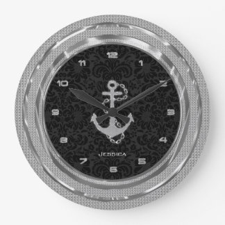 Silver Glitter Nautical Anchor Black Background 2 Wall Clocks