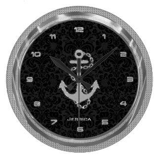 Silver Glitter Nautical Anchor Black Background Wallclock