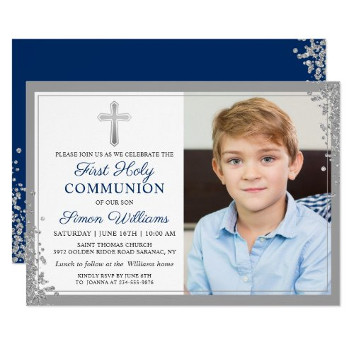 Silver Glitter Navy Blue 1st Holy Communion Photo Invitation