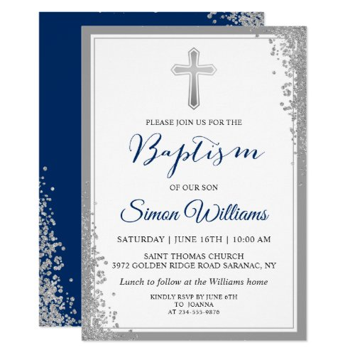 Silver Glitter Navy Blue Boy Baptism Invitation