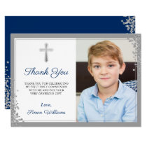 Silver Glitter Navy Blue Communion Thank you Card