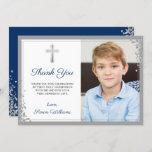 Silver Glitter Navy Blue Communion Thank you Card